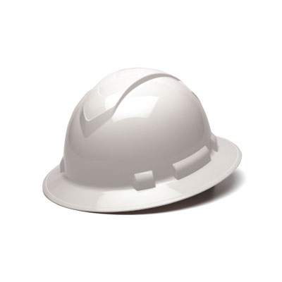 Pyramex HP54110 Full Brim Hard Hat - White 4 Pt Ratchet Suspension (Box of 12) HP54110