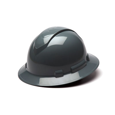 Pyramex HP54113 Full Brim Hard Hat - Slate Gray 4 Pt Ratchet Suspension (Box of 12) HP54113