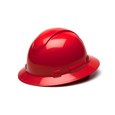 Pyramex HP54120 Full Brim Hard Hat - Red 4 Pt Ratchet Suspension (Box of 12) HP54120