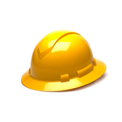 Pyramex HP54130 Full Brim Hard Hat - Yellow 4 Pt Ratchet Suspension (Box of 12) HP54130