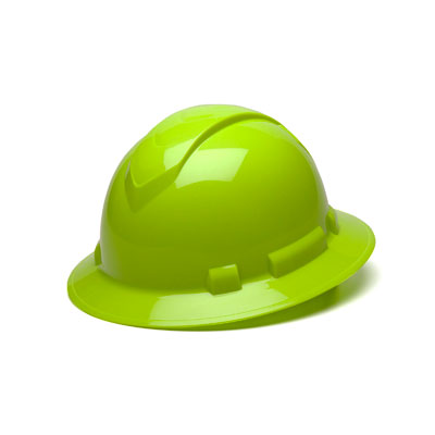 Pyramex HP54131 Full Brim Hard Hat - Hi Vis Lime 4 Pt Ratchet Suspension (Box of 12) HP54131