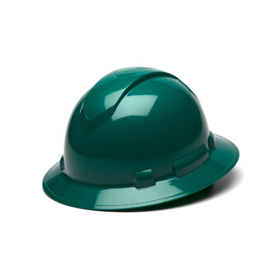 Pyramex HP54135 Full Brim Hard Hat - Green 4 Pt Ratchet Suspension (Box of 12) HP54135