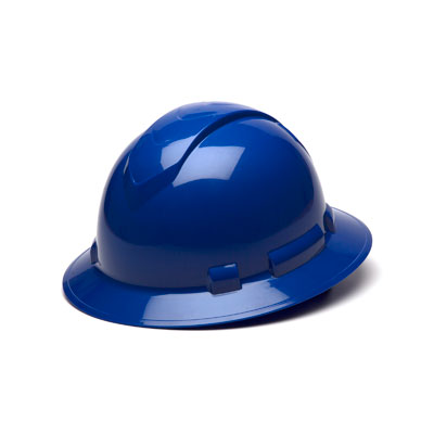 Pyramex HP54160 Full Brim Hard Hat - Blue 4 Pt Ratchet Suspension (Box of 12) HP54160