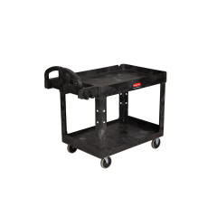 Rubbermaid - FG452088 HD 2-Shelf Utility Cart w/Lipped Shelf (Med) 45-1/4in. x 25-7/8in. x 33-1/4in 4520-88