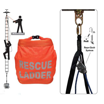 Safewaze FS-EX243-BL 18ft. Rescue Ladder with Rope Belay System FFS-FS EX243 BL