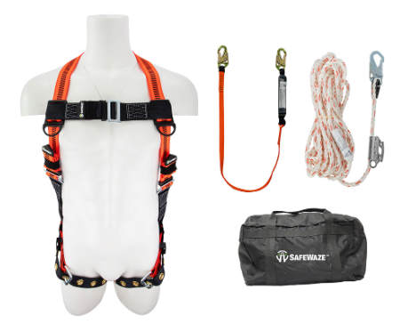 Safewaze Fall Protection Combo with Harness, 6ft Lanyard , 25ft Rope and Bag FFS-0193030