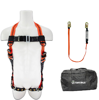 Safewaze Fall Protection Combo with Harness, 6ft Lanyard and Bag FFS-0193034