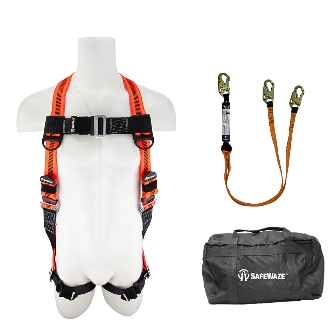 Safewaze Fall Protection Combo with Harness, 6ft Dual Lanyard and Bag FFS-0193035