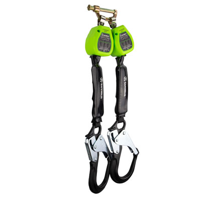 Safewaze FS-EX10065-W-RBH-BWB 6ft. Web Retractable Dual Leg with Aluminum Rebar Hooks with Behind the Web Bracket (Class A) FS-EX10065-W-RBH-BWB