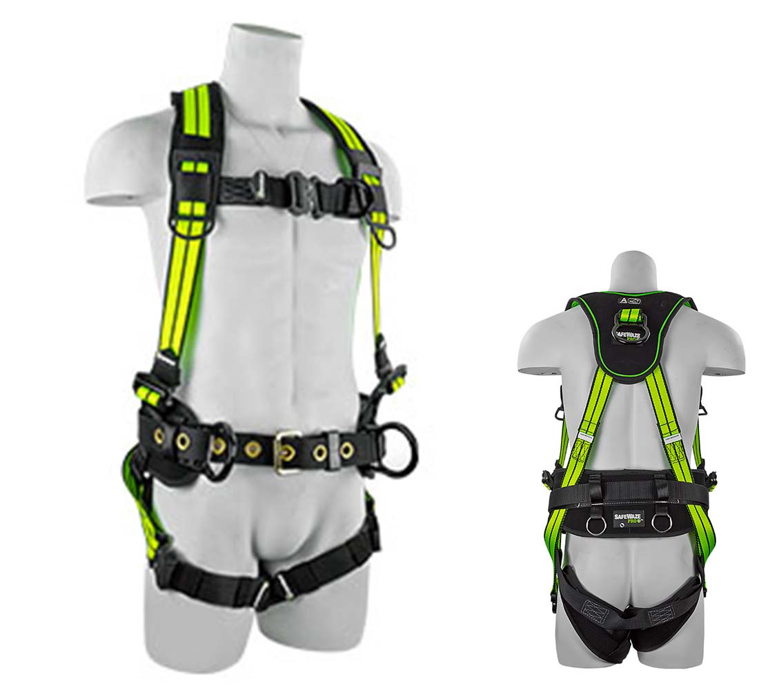 Safewaze FS-FLEX253-FD PRO+ Flex Premium Wind Energy Fall Protection  Harness with 4 D-Rings - Small