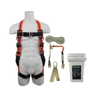 Safewaze FS-ROOF-E Complete Roofer's Fall Protection Compliance Kit in a Bucket FS-ROOF-E