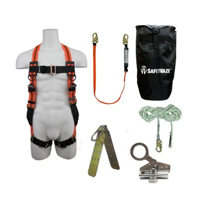 Safewaze FS120-E-1118DC-BP Complete Basic Roofers Fall Protection Kit with Backpack FS120-E-1118DC-BP