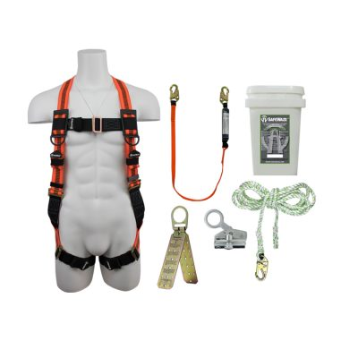 Safewaze FS120-E-1118DC Complete Basic Roofers Fall Protection Kit with Bucket FS120-E-1118DC
