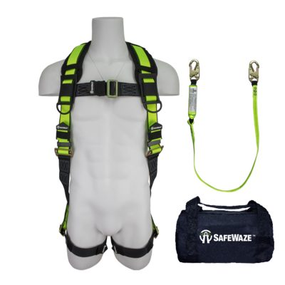 Safewaze FS126 Complete Professional Fall Protection Starter Kit with Harness and 6ft Lanyard - Small/Medium FS126-S/M