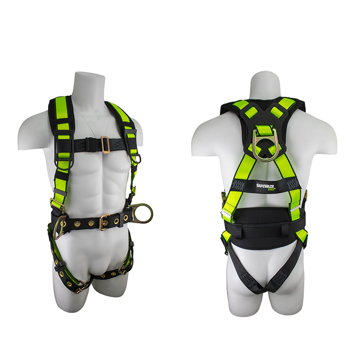 Safewaze FS170 No-Tangle Construction Fall Protection Harness with 3 D-Rings - Large FFS-FS170 L