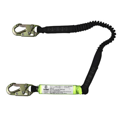 Safewaze FS570 6ft. Stretch Energy Absorbing Lanyard with Double Locking Snap Hooks FS570