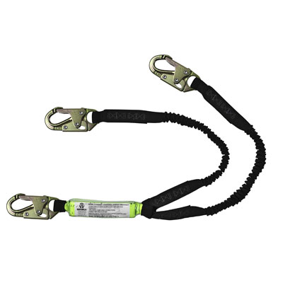 Safewaze FS571 6ft. Stretch Energy Absorbing Lanyard with Double Locking Snap Hooks Dual Leg FS571