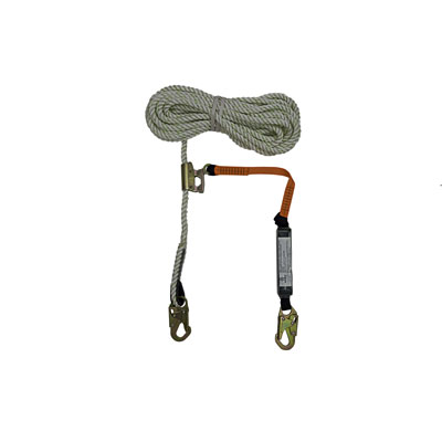 Safewaze FS700-50GA-3E 50ft x 5/8in. Polyester-dacron, 3-Strand Twisted Rope Lifeline with Rope Grab and Lanyard FS700-50GA-3E