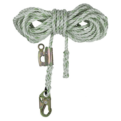 Safewaze FS700-25GA 25ft x 5/8in. Polyester-dacron, 3-Strand Twisted Rope Lifeline with Rope Grab FS700-25GA
