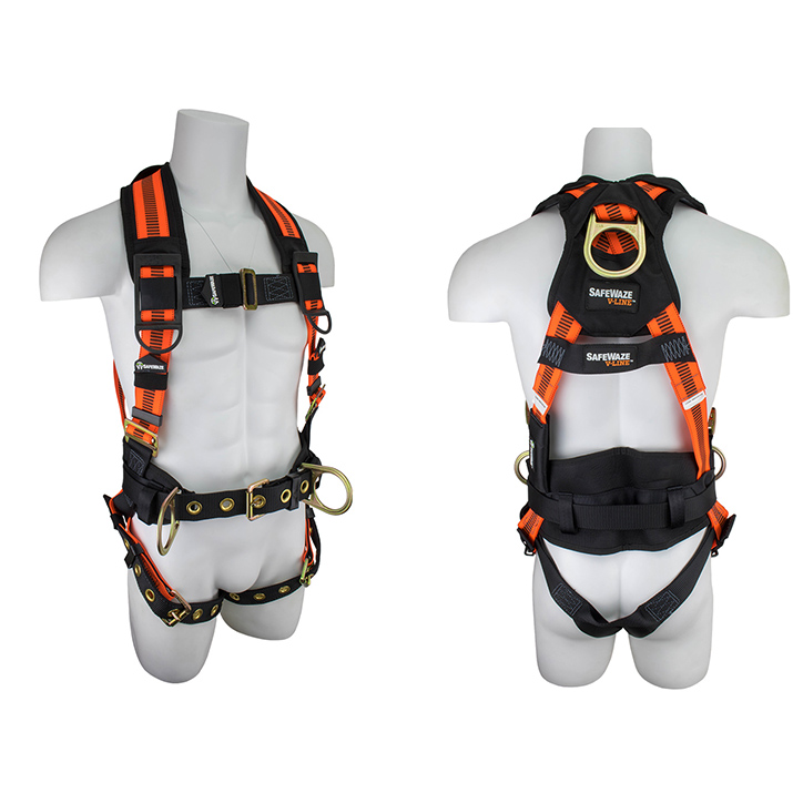 Safewaze FS99160-E V-LINE Construction Fall Protection Harness with 3 D-Rings - Large FFS-FS99160 E L
