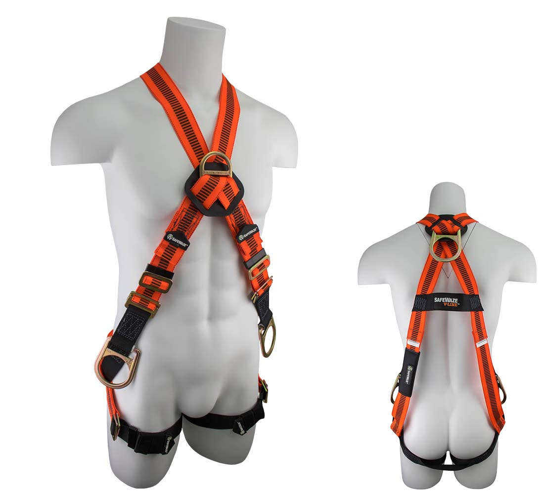 Safewaze FS99281-EFD-X V-LINE Cross Over Fall Protection Harness with 4 D-Rings - Universal Size FS99281-EFD-X