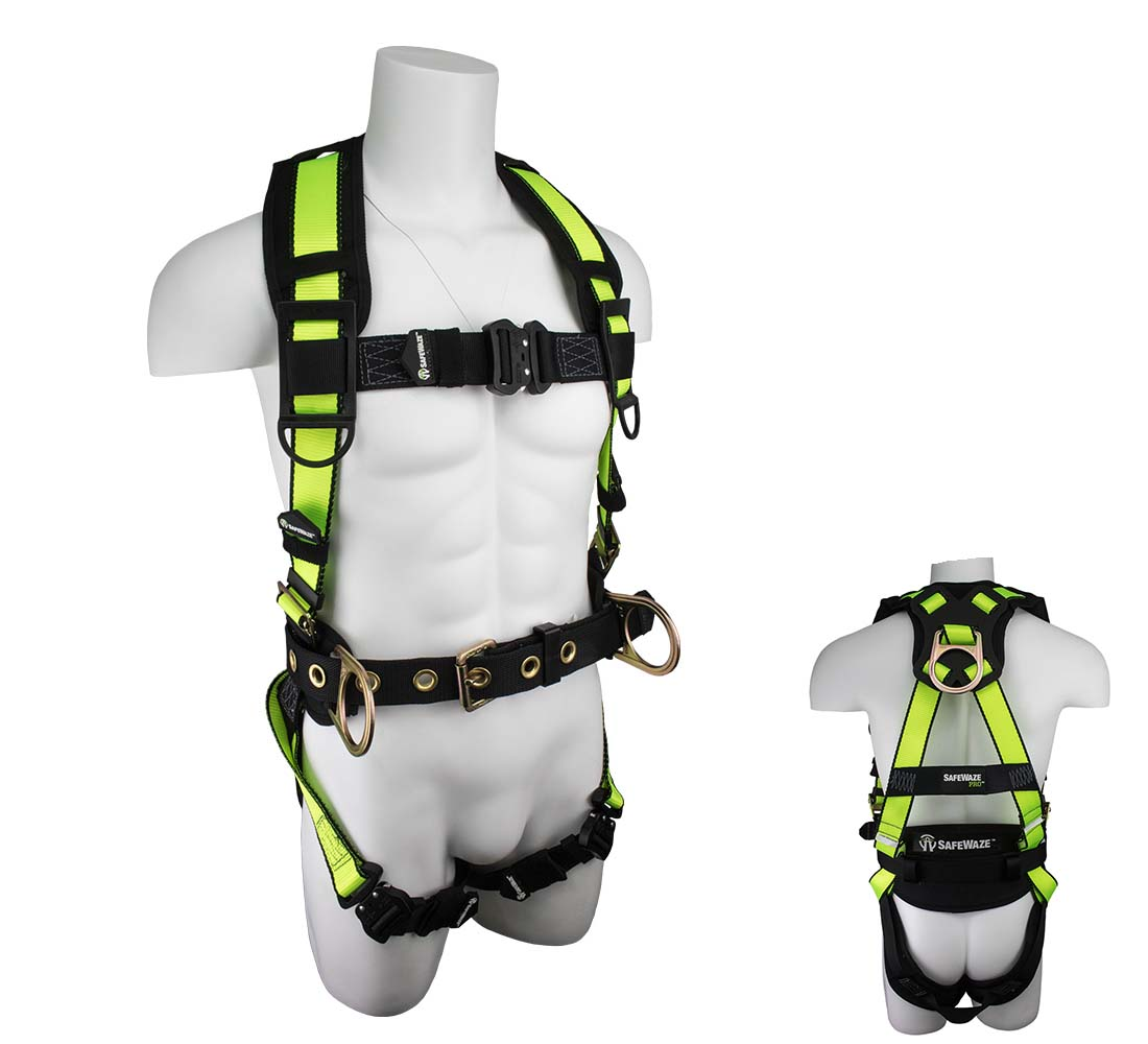 Safewaze SW160-QC PRO Construction Fall Protection Harness with Quick Connect and 3 D-Rings - Small SW160-QC-S
