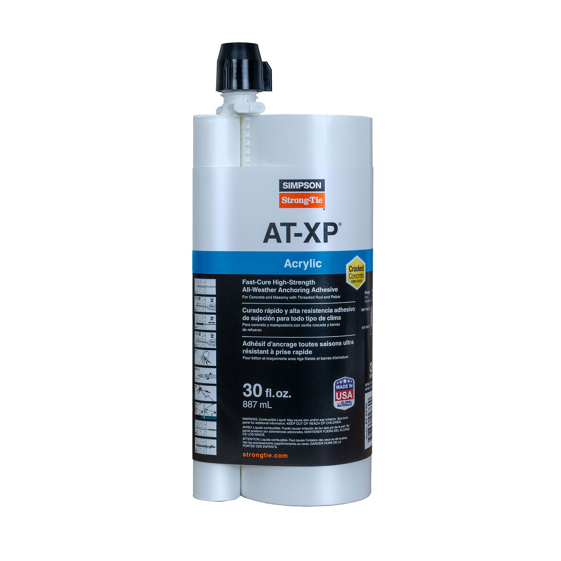 Simpson Strong-Tie AT-XP30 Acrylic Adhesive for Concrete and Masonry Anchoring - 30 oz. Dual Cartridge AT-XP30