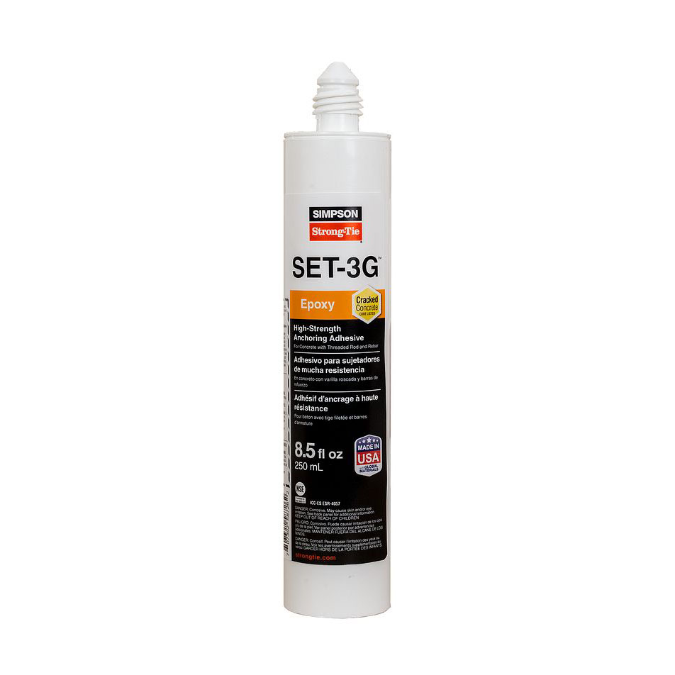 Simpson Strong-Tie SET3G10-Case SET-3G High-Strength Epoxy Adhesive 8.5 oz. Single Cartridge with Nozzles - Box of 12 SET3G10-Case