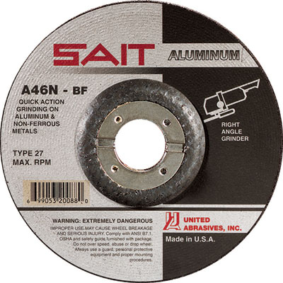 Sait 20062 4-1/2in  X 1/4in  X 7/8in  A46n Wheel for Grinding Aluminum (Box  of 25)