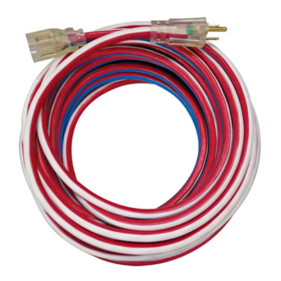 Voltec 05-00159 100 ft 12/3 SJTW Red/White/Blue U-Ground Kwik Kustom Extension Cord FXW-0500159