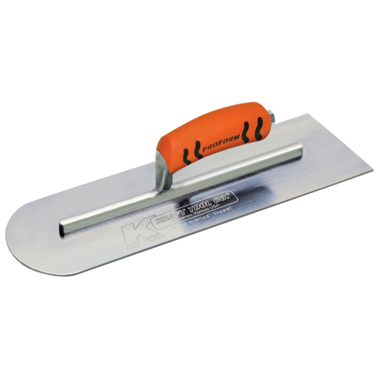 Kraft - CF288PF - 20in x 5in Round End Cement Trowel (Carbon Steel) W/ProForm Handle CF288PF