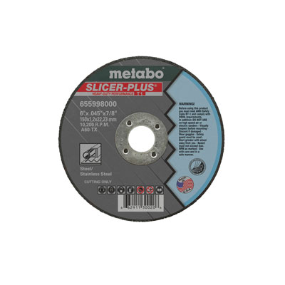 Metabo 655998000 6in x 0.045in x 7/8in Slicer Plus Type 1 (Pack of 50) 655998000