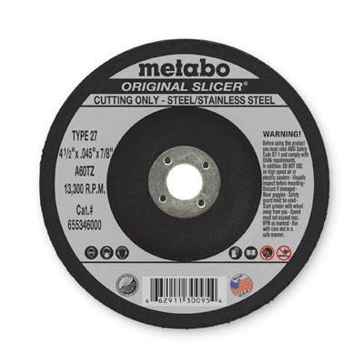 Metabo 655346000 4-1/2in x 0.045in x 7/8in Original Slicer Type 27, A60TZ (Pack of 50) 655346000