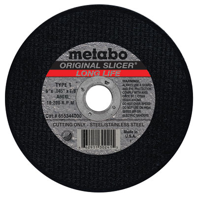 Metabo 655344000 6in x .045in x 7/8in Type 1 Long Life Original Slicer, A60XL (Pack of 50) 655344000
