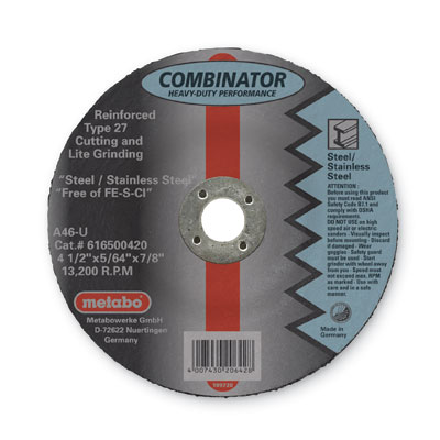 Metabo 616500420 4-1/2in x 5/64in x 7/8in Combinator Wheel Type 27 (Pack of 25) 616500420