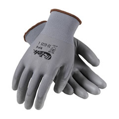 PIP 33-G125/L Glove; G-Tek Npg, Gray Polyurethane Coated Palm & Fingers On Gray Seamless Knit Nylon 33-G125/L