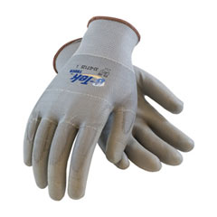 PIP 33-Gt125/L Glove; G-Tek Touch, Gray Polyurethane Coated Palm & Fingers On Gray Seamless Knit Polyester, Static Wired Thumb, Index And Middle 33-GT125/L