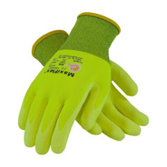 PIP 34-874Fy/L Glove; G-Tek Maxiflex Ultimate, Fluorescent Yellow Micro-Foam Nitrile Coated Palm & Finger Tips, Yellow Seamless Knit Nylon Liner 34-874FY/L