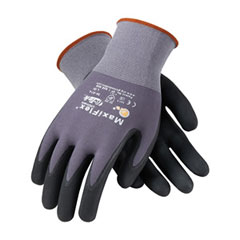 PIP 34-874/L Glove; G-Tek Maxiflex Ultimate, Black Micro-Foam Nitrile Coated Palm & Finger Tips, Gray Seamless Knit Nylon Liner 34-874/L