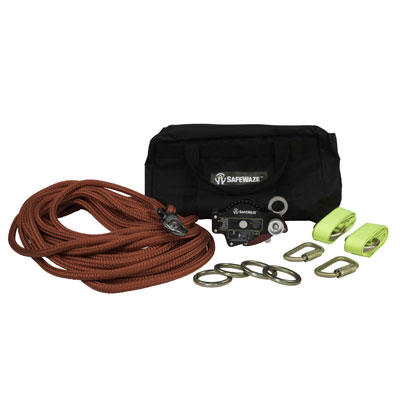 Safewaze FS808-60 4-Person 60ft. Portable Horizontal Lifeline System with Double Braid Rope FS808-60